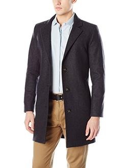Nautica Men's 3 Button Wool Blend 37 inch Topcoat, Charcoal,
