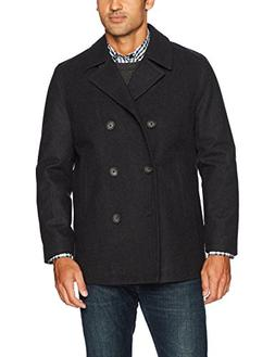 Nautica Men's Double Breasted Wool Peacoat, Charcoal, L