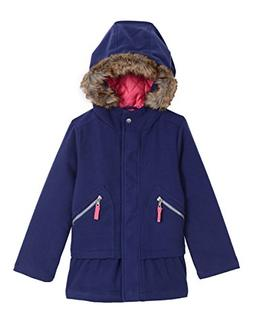 Nautica Toddler Girls Poly Blend Coat with Faux Fur, Medium