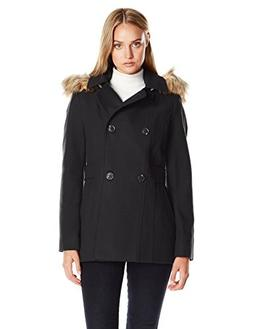 Nautica Women's Mid-Length Peacoat with Faux Fur Hood, Black