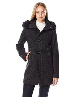 Nautica Women's Novelty Wool with Toggle Coat Closure/Faux F