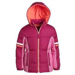 Pink Platinum Puffer Jacket for Girls, Babies & Toddlers wit