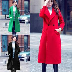 Plus Size Womens Winter Warm Wool Jacket Overcoat Long Trenc