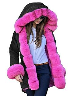 Roiii Women Thicken Warm Winter Coat Faux Fur Hood Parka Ove