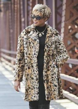 Sherah Coat Leopard Faux Fur Ashro Long