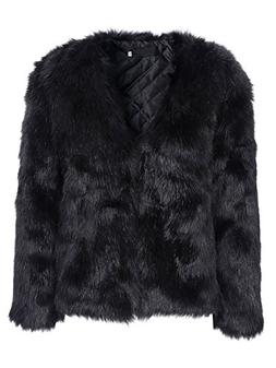 Simplee Apparel Women's Autumn Winter Warm Fluffy Faux Fur C