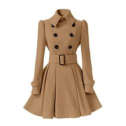 Susanny Wool Trench Coat Women's Slim Long Blend Stand Collo