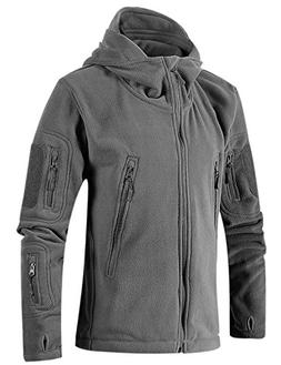 Tanming Men's Full Zip Hooded Tactical Fleece Jacket Mutiple