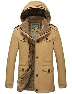 Tanming Men's Winter Warm Faux Fur Lined Jacket with Detacha