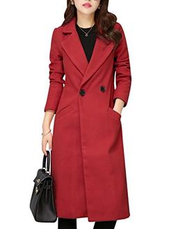 Tanming Women's Button Front Long Wool Blend Coat Outerwear