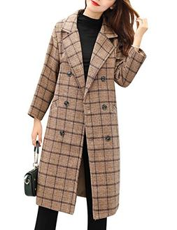 Tanming Women's Double Breasted Long Plaid Wool Blend Pea Co
