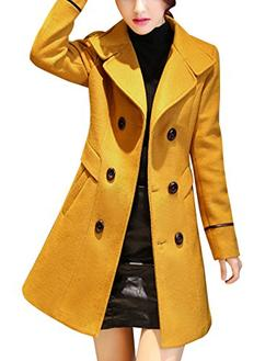 Tanming Women's Double Breasted Long Wool Blend Pea Coat Out