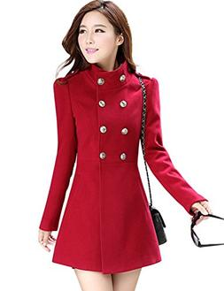 Tanming Women's Double Breasted Wool Blend Long Pea Coat Out