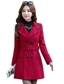 Tanming Women's Double Breasted Wool Blend Long Pea Coat wit