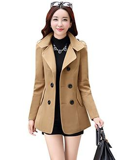 Tanming Women's Double Breasted Wool Blend Pea Coat
