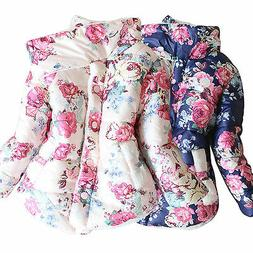 Toddler Baby Girls Floral Hooded Coat Outerwear Kids Jackets