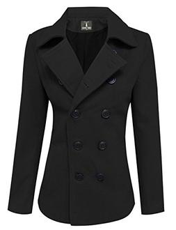 Tom's Ware Womens Trendy Double Breasted Wool Pea Coat TWCWC