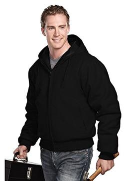 Tri-mountain Cotton canvas hooded work jacket with quilted l