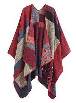 Urban CoCo Women's Color Block Shawl Wrap Open Front Poncho