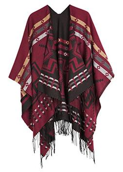 Urban CoCo Women's Printed Tassel Open front Poncho Cape Car