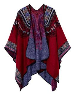 Urban CoCo Women's Winter Vintage Poncho Capes Tassel Blanke