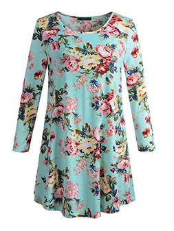 Veranee Women's Plus Size Swing Tunic Top 3/4 Sleeve Floral