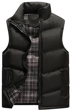 Vocni Men's Winter Full Zip Down Vest Outerwear Jacket Coat