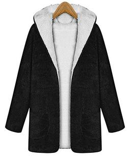 Vocni Women Hoodie Winter Berber Fleece Long Coat Jacket