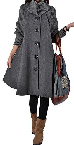 Vocni Women Wool Blend Winter Casual Long Coat Jacket