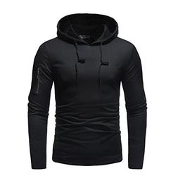 WUAI Men's Long Sleeve Hoodie Sweatshirt Fashion Solid Color
