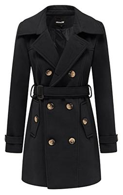Wantdo Women's Double Breasted Pea Coat with Belt US Large B