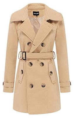 Wantdo Women's Double Breasted Pea Coat with Belt US Small K