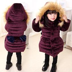 Winter Baby Kids Girls Long Padded Coats Fur Hooded Jacket P