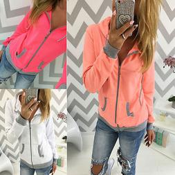 Women Hooded Zip Up Hoodies Sweater Sweatshirt Jacket Jumper
