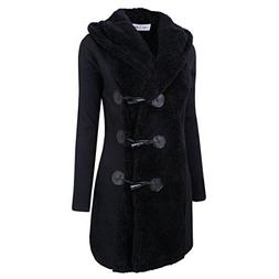 Women's Horn Button Closure Hooded Coat Jacket Long Parka Ov