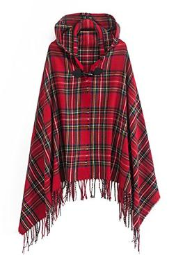 Women's Vintage Plaid Knitted Tassel Poncho Shawl Cape Butto