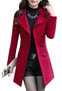 Women's Button Closure Asymmetrical Hem Black Cloak Coat Red