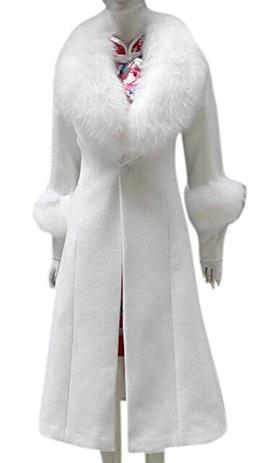 Women's Wool Long Parka Fur Collar Cocktail Slim Casual Tren