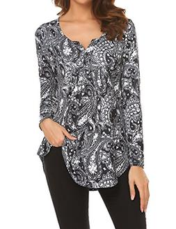Womens Long Shirts to Wear with Leggings, Ladies V-Neck Long