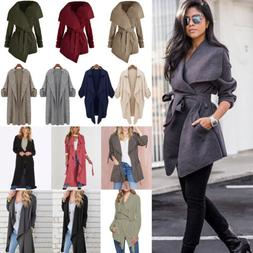 Womens Winter Trench Coat Duster Waterfall Hooded Long Jacke