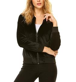 Zeagoo Women Classic Velvet Zip Up Pocket Bomber Jacket Coat