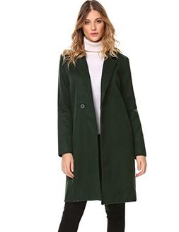 Zeagoo Women Lapel Long Trench Coat Wool Blended Jacket Card