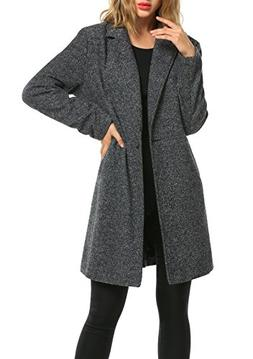 Zeagoo Women Long Trench Coat Single Breasted Wool Jacket Ca