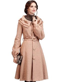 Artka Women's Winter Vintage Embroidered Lapel Belted Wool D