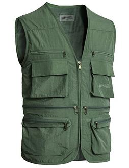 H2H Mens Atheletic Outdoor Quick-Dry Fishing Vest LIGHTKHAKI