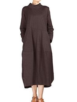 Mordenmiss Women's Autumn Turtleneck Long Baggy Dress with P