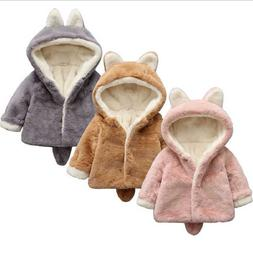 Baby Girls Kids Toddler Fur Hooded Coat Winter Rabbit Bunny