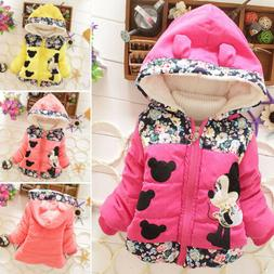 Baby Kids Girls Cartoon Minnie Mouse Hooded Jacket Coat Wint