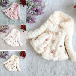 Baby Kids Girls Winter Warm Jacket Outerwear Long Sleeve Fur
