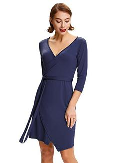 Grace Karin Women's Basic Solid Self-Tie Classy Midi Wrap Dr